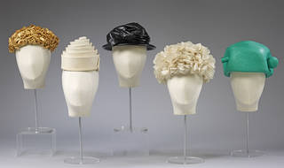 Selection of hats by Cristóbal Balenciaga, 1950 – 65, Spain and France. Museum nos T.115-1970/T.146-1998/T.167-1982/T.756-1972/T.755-1972. © Victoria and Albert Museum, London