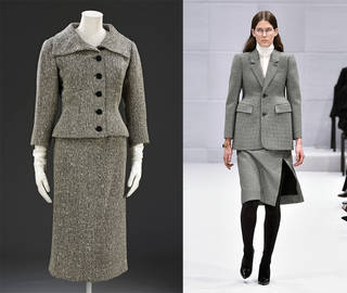 Left to right: skirt suit, Cristóbal Balenciaga, 1954 – 5, Paris. Museum no. T.128&A-1982. © Victoria and Albert Museum, London. Demna Gvasalia for Balenciaga, Autumn Winter 2016 ready-to-wear, look 1. Photograph courtesy of Catwalking.com