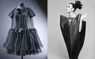 Left to right: Babydoll evening dress, Cristóbal Balenciaga, 1958, Paris. Museum no. T.334-1997. © Victoria and Albert Museum, London.  Alberta Tiburzi in 'envelope' dress by Cristóbal Balenciaga. Harper's Bazaar, June 1967. © Hiro 1967