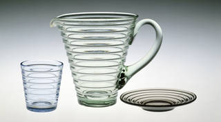 Bölgeblick tumbler, jug and plate, designed by Aino Marsio Aalto, manufactured by Karhula, 1932, Finland. Museum no. C.228 to 228B-1987. © Victoria and Albert Museum, London