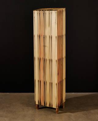 Peter marigold. tall bleed cabinet, 2014. cedar wood, steel nails, 154 x 38 x 31 cm (1)