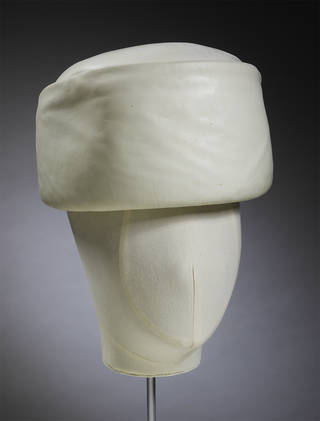 Hat, Cristóbal Balenciaga, leather, about 1962, Paris. Museum no. T.64-1974. Worn and given by Gloria Guinness. © Victoria and Albert Museum, London