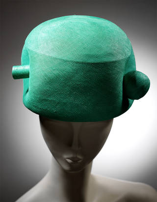 Hat, Cristóbal Balenciaga, woven straw, grosgrain and velvet, 1963, Paris. Museum no. T.755-1972. © Victoria and Albert Museum, London