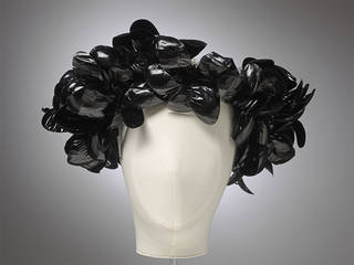 Hat, Cristóbal Balenciaga, velvet, ramie, cellophane and plastic, 1955 – 60, Paris. Museum no. T.61-1974. Worn and given by Gloria Guinness. © Victoria and Albert Museum, London