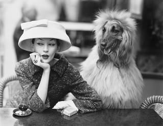 Dovima with Sacha, cloche and suit by Balenciaga, Café des Deux Magots, Paris, 1955. © The Richard Avedon Foundation