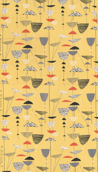 Photo of Calyx, furnishing fabric, Lucienne Day, 1951, England. Museum no. T.161-1995. © Robin and Lucienne Day Foundation/Victoria and Albert Museum, London
