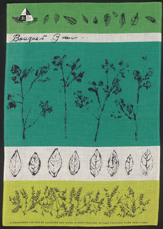 Photo of Bouquet Garni, tea towel, Lucienne Day, 1959, Ireland. Museum no. CIRC.457A-1963. © Robin and Lucienne Day Foundation/Victoria and Albert Museum, London