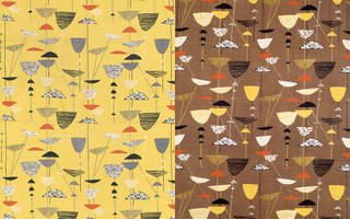 Calyx, furnishing fabric (shown in two colourways), Lucienne Day, 1951, England. Museum no. T.161-1995/CIRC.190-1954. © Robin and Lucienne Day Foundation/Victoria and Albert Museum, London