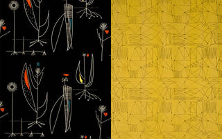 Left to right: Herb Antony, furnishing fabric, Lucienne Day, 1956, England. Museum no. CIRC.482-1956. Graphica, furnishing fabric, Lucienne Day, 1954, England. Museum no. CIRC.211-1954. © Robin and Lucienne Day Foundation/Victoria and Albert Museum, London