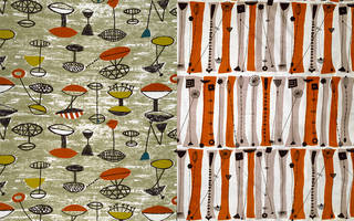 Left to right: Flotilla, furnishing fabric, Lucienne Day, 1952, England. Museum no. CIRC.51-1953. Palisade, furnishing fabric, Lucienne Day, 1953, England. Museum no.  CIRC.384-1953. © Robin and Lucienne Day Foundation/Victoria and Albert Museum, London