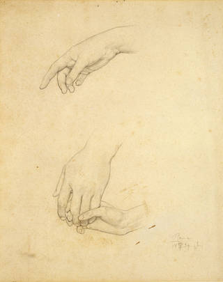 Studies of three hands for Cimabue's Madonna, Frederic Leighton, 1853 – 5, England. Museum no. 753-1896. © Victoria and Albert Museum, London