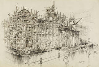 The V&A with scaffolding during the construction of Sir Aston Webb's new building, Louis Weirter, 1906, England. Museum no. D.655-1906. © Victoria and Albert Museum, London