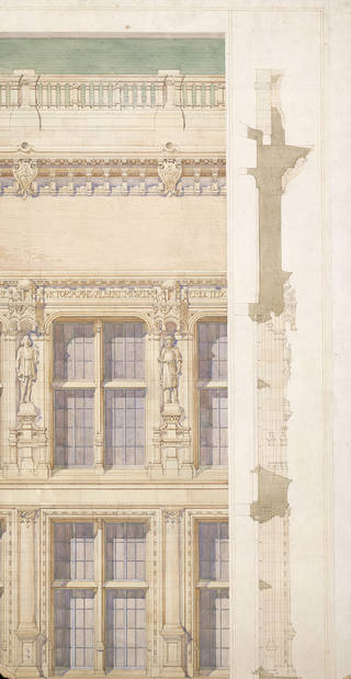 Design proposals for detailed treatment of exterior, Aston Webb, about 1901. Museum no. E.412-2005. © Victoria and Albert Museum, London. Presented by Dr John Physick