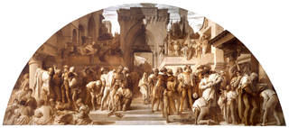 Half-size monochrome cartoon for the spirit fresco The Arts of Industry as Applied to War, Frederic Leighton, 1870 – 2, England. Museum no. 296-1907. © Victoria and Albert Museum, London