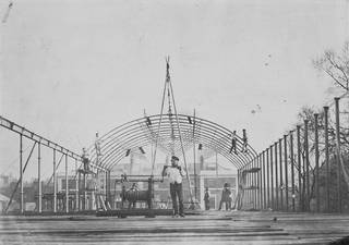 Exterior view of the roof of the South Kensington Museum (the 'Brompton Boilers') under construction, Royal Engineers, 1856. Museum no. 34966 CIS. © Victoria and Albert Museum, London