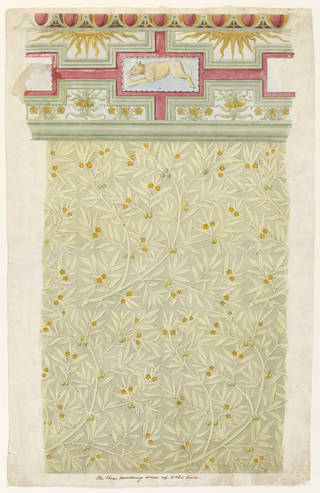 Design for wall decoration and cornice in the Green Dining Room, Philip Webb, about 1866. Museum no. E.5096-1960. © Victoria and Albert Museum, London