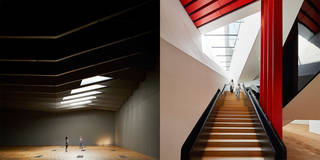 Left to right: The Sainsbury Gallery, The V&A Exhibition Road Quarter, designed by AL_A. ©Hufton+Crow. Descending staircase, the V&A Exhibition Road Quarter, designed by AL_A. ©Hufton+Crow