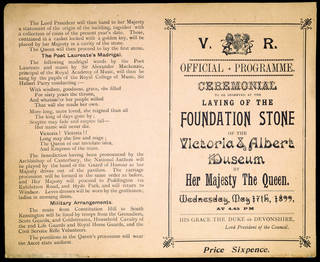 Official programme for the laying of the Foundation Stone of The Victoria & Albert Museum, 1899. Museum no. E.1458-1984 CIS. © Victoria and Albert Museum, London