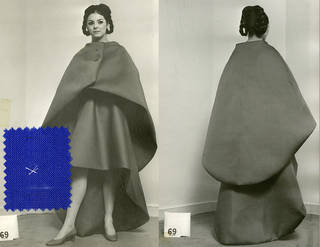 Model wearing Balenciaga evening dress and cape, 1967. © Balenciaga House Archives, Paris