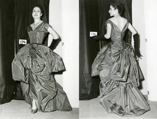 Model wearing Balenciaga evening dress, 1954. © Balenciaga House Archives, Paris