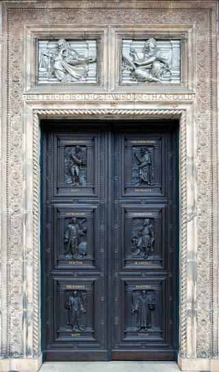 Original front entrance doors to the Museum, now in the John Madejski Garden, designed by James Gamble & Reuben Townroe based on designs by Godfrey Sykes, 1868. © Victoria and Albert Museum, London