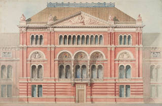 Design of the façade of the Lecture Theatre, Godfrey Sykes. Museum no. D.930-1899.  © Victoria and Albert Museum, London