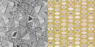 Left to right: Dress fabric designed for the Festival of Britain, Lucienne Day, 1950. Museum no. AAD/2009/6/7. Provence, wallpaper, Lucienne Day, 1951, England. Museum no. E.569-1966. © Robin and Lucienne Day Foundation/Victoria and Albert Museum, London