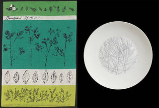 Left to right: Bouquet Garni, tea towel, Lucienne Day, 1959, Ireland. Museum no. CIRC.457A-1963. Four Seasons: Winter, plate, Lucienne Day, 1958 – 9, England. Museum no. C.136-2012. © Robin and Lucienne Day Foundation/Victoria and Albert Museum, London