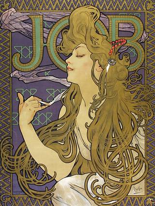 Poster advertising Job cigarette paper, Alphonse Mucha, 1898. Museum no. E.260-1921. © Victoria and Albert Museum, London