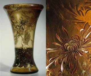 Galle lily vase with detail