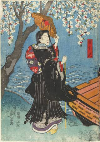 Sumidagawa Bairyu Shinsho, woodblock print, Utagawa Kunisada, 1847, Japan. Museum no. E.6287:1-1886. © Victoria and Albert Museum, London