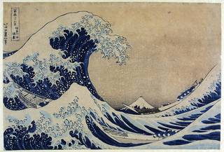 Thirty-six Views of Mount Fuji: The Great Wave off the Coast of Kanagawa, woodblock print,  Katsushika Hokusai, about 1831, Japan. Museum no. E.4823-191, © Victoria and Albert Museum, London