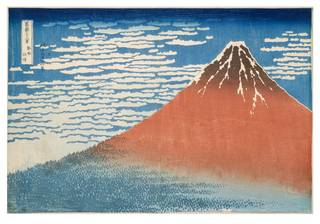Thirty-six Views of Mount Fuji: South Wind, Clear Dawn, woodblock print, Katsushika Hokusai, c.1831, Japan. Museum no. E.4813-1916, © Victoria and Albert Museum, London