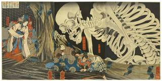 Takiyasha the Witch and the Skeleton Spectre, woodblock print, Utagawa Kuniyoshi, c. 1844, Japan. Museum no. E1333:1 to 3-1922, © Victoria and Albert Museum, London