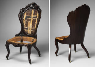 Chair (front and rear views), probably designed and manufactured by John Henry Belter, about 1860, New York. Museum no. W.2-1971. © Victoria and Albert Museum, London