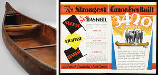 Left to right: Canoe, manufactured by the Haskell Boat Company, Ludington, Michigan, designed 1917, manufactured about 1930. © Victoria and Albert Museum, London; Brochure advertising the Haskell canoe, about 1930, US. © Victoria and Albert Museum, London