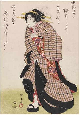 Geisha in a Hurry, woodblock print, Utagawa Kuniyasu, c. 1816-1818, Japan. Museum no. E.10458-1886, © Victoria and Albert Museum, London