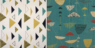 Left to right: Isosceles, furnishing fabric, Lucienne Day for Heal's Wholesale and Export Ltd., 1955, England. Museum no. CIRC.473-1956; Calyx, furnishing fabric, Lucienne Day for Heal & Son Ltd., 1951, England. Museum no.  T.329:3-1999. © Robin and Lucienne Day Foundation/Victoria and Albert Museum, London