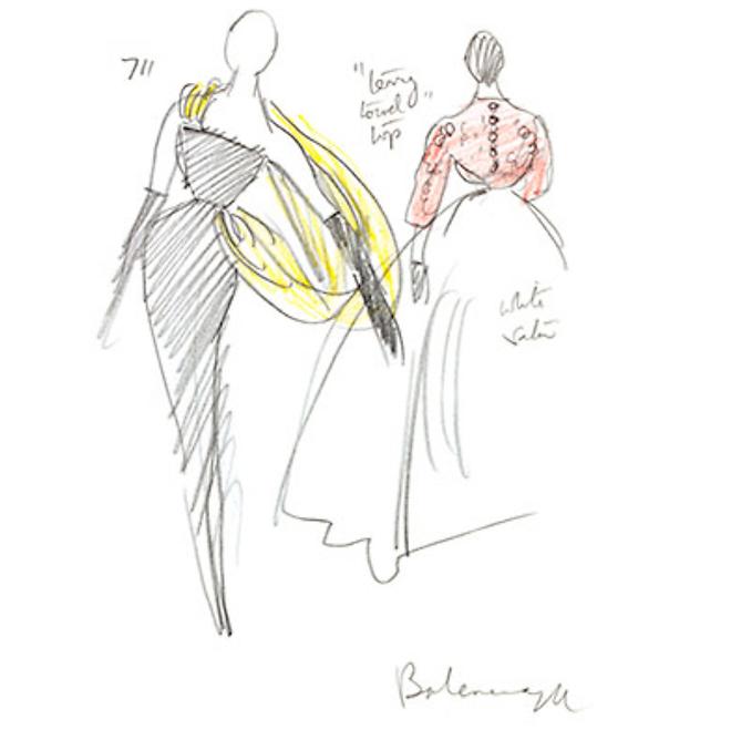 Balenciaga gown, fashion illustration
