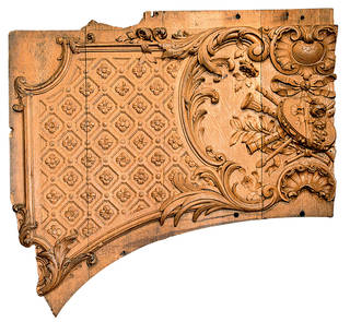 Wooden panel fragment from an overdoor in the first-class lounge on Titanic, about 1911. © Maritime Museum of the Atlantic, Halifax, Nova Scotia, Canada