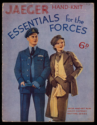 Front cover from Jaeger Hand-Knit Essentials for The Forces, series No.44, mid-1940s, England. Museum no. AAD/EPH/15/8. © Victoria and Albert Museum, London
