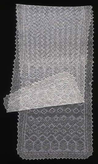 Shawl, Amy Johnston, 1935, Baltasound, Unst, Shetland islands,  knitted shetland wool. Museum no. T.335-1980. © Victoria and Albert Museum, London