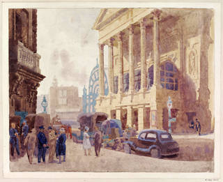 Photo of Watercolour showing Covent Garden Opera House, The Colonnade, Walter Bayes, about 1940, England. Museum no. E.1762-1949. © Victoria and Albert Museum, London