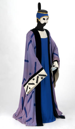 Photo of Costume for the Bonze in Stravinsky's opera The Nightingale, Royal Opera House, Covent Garden, designed by David Hockney, 1983, England. Museum no. S.26:1 to 6-2003.  © Victoria and Albert Museum, London