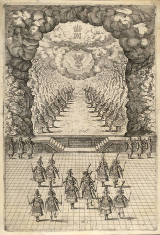 Photo of Engraving of a court ballet in Vlasislav Hall, Prague Castle, 1617, Czech Republic. Museum no. S.87-1 to 7-2010. © Victoria and Albert Museum, London
