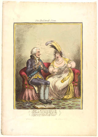 Photo of Print of D. Portland and Mrs Billington entitled The Bulstrode Siren, engraved by James Gillray, published by H. Humphrey, 1803, England. Museum no. S.213-2009. © Victoria and Albert Museum, London