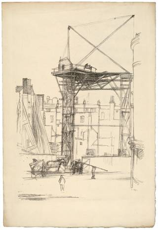 Photo of Lithograph showing the building of Her Majesty's Theatre, Sir William Rothenstein, 1897, London. Museum no. S.1012-1982. © Victoria and Albert Museum, London