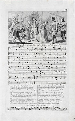 Photo of Sheet of printed music for The Ladies Lamentation for the Loss of Sensesino, engraved by George Bickham Jnr, 1737 – 1738, England. Museum no. S.1137-1986. © Victoria and Albert Museum, London