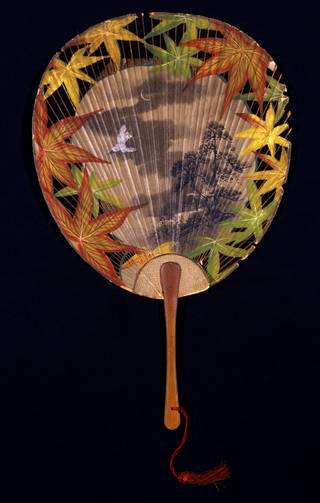Photo of Souvenir Japanese fan commemorating The Mikado's 1000th performance at the Savoy Theatre, 1896.  Museum no: S.1210-1984. © Victoria and Albert Museum, London