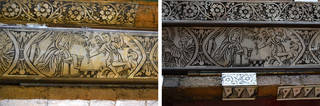 Left to right: Engraved scenes showing the Annunciation, before and after conservation work, Museum no. 883-1882, photo by Ariane Théveniaud. © Victoria and Albert Museum, London